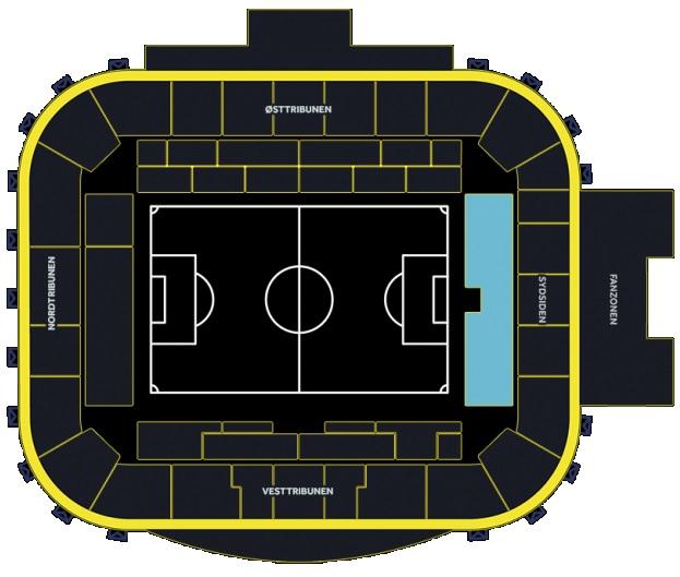 Oversigt over Brøndby Stadion, der fremhæver Sydsiden Nedre.