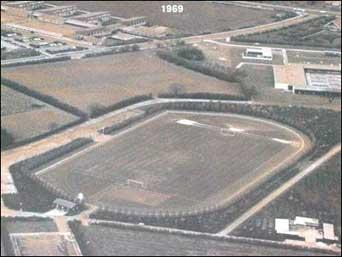 Brøndby Stadion set fra luften på billede taget i 1969.