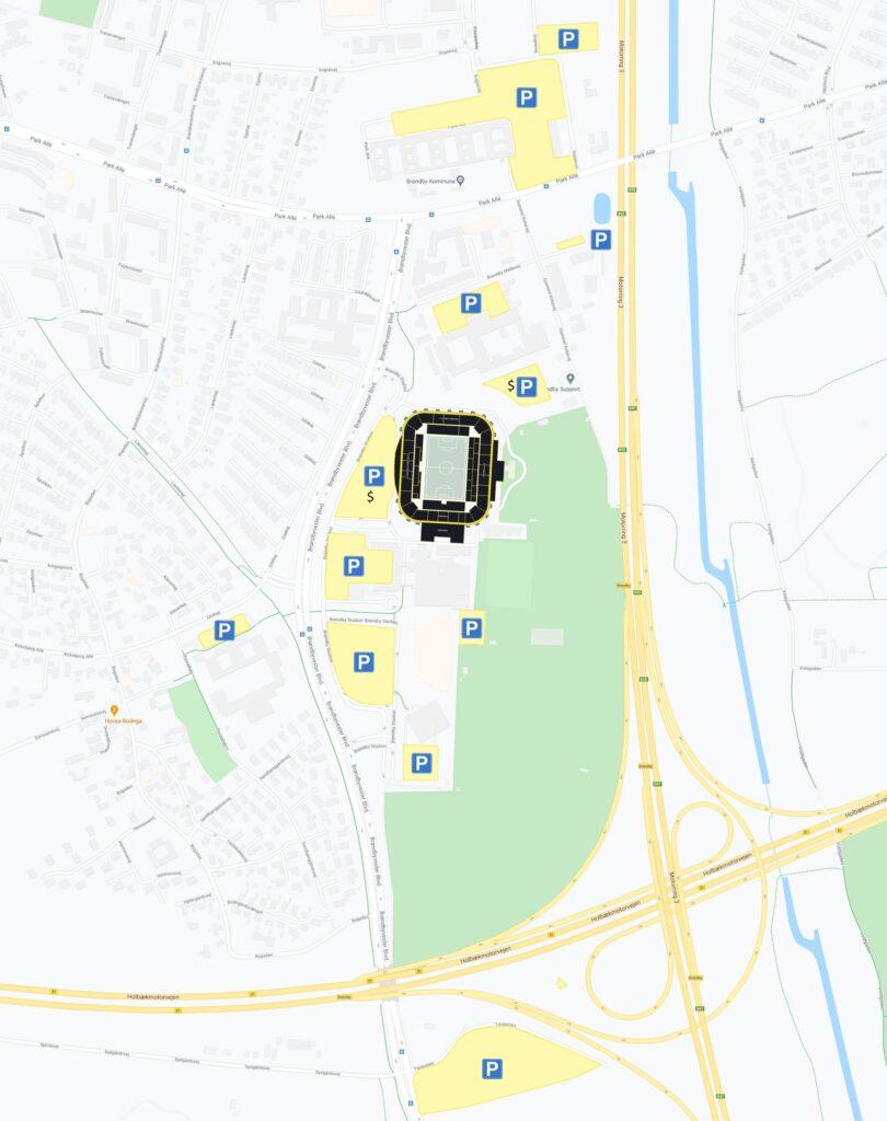 Oversigt over parkeringspladserne omkring Brøndby Stadion. Kortet viser både gratis og betalingsløsninger.